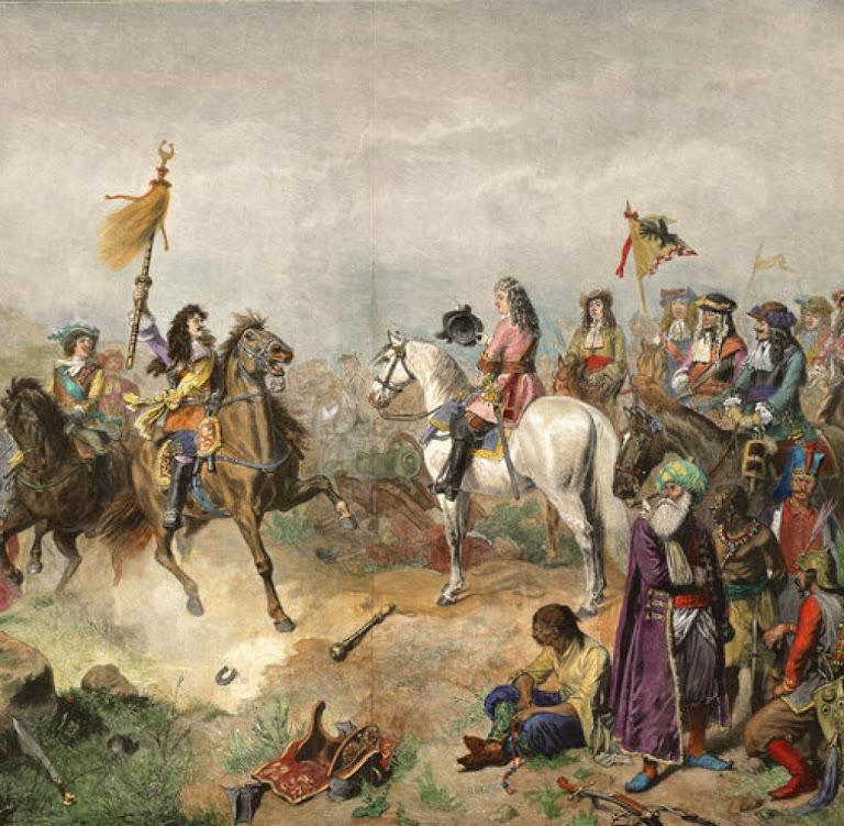 Vitória católica na segunda batalha de Mohács. Luiz Guilherme, margrave de Baden-Baden, e o generalíssimo Carlos V de Lorena. Wilhelm Camphausen (1818 - 1885)