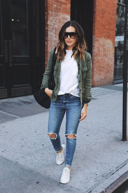 olive green military army style jacket distressed denim white tee sneakers casual wear street style