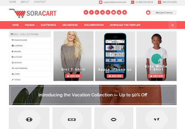 Bán Full SoraCart Blogger Template Premium Version