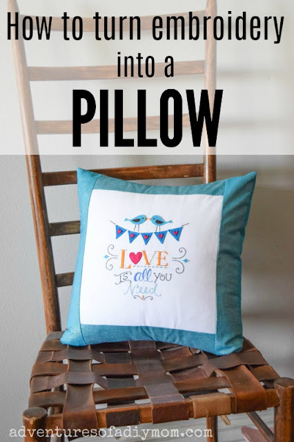 how to turn embroidery into a pillow