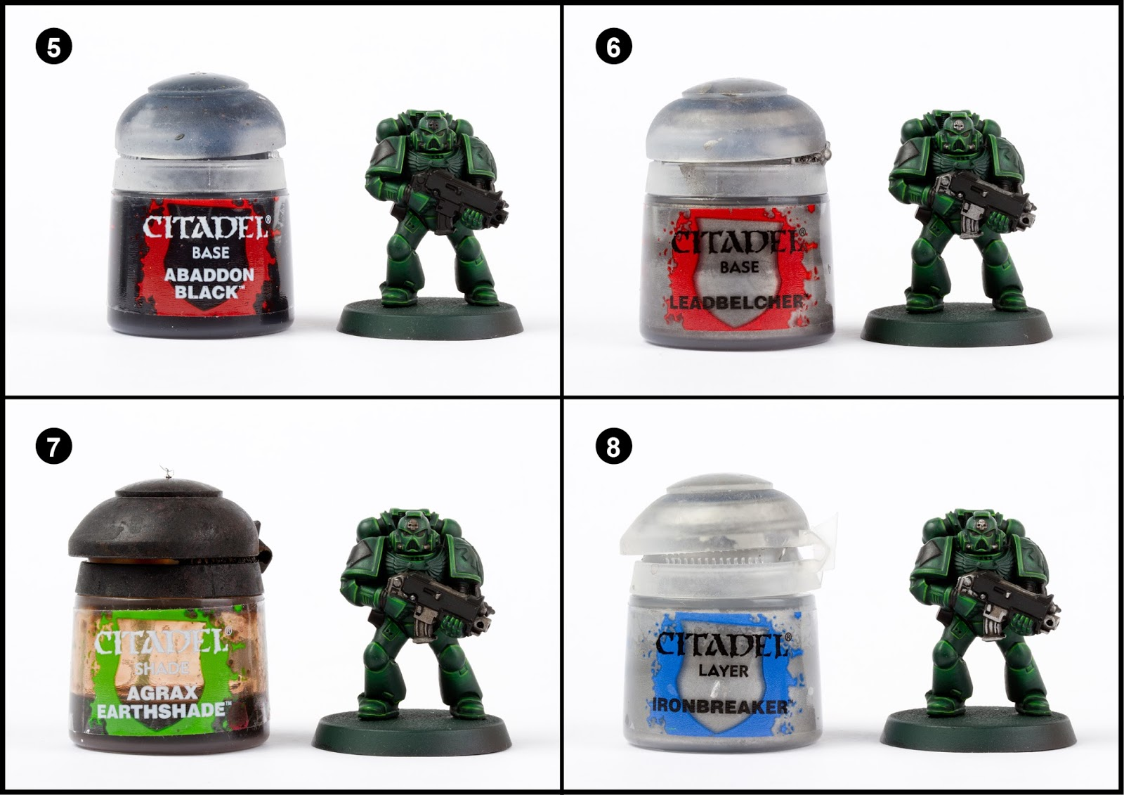 Paint the rubberised areas between the armour, the bolter and tactical  symbol with Abbadon Black. 6. Pick out any metal areas with Leadbelcher.