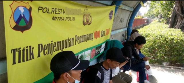 Zona Merah Terlarang Titik Jemput Penumpang Driver Ojek Online  (Ojol) Grab Gojek di Jogja.