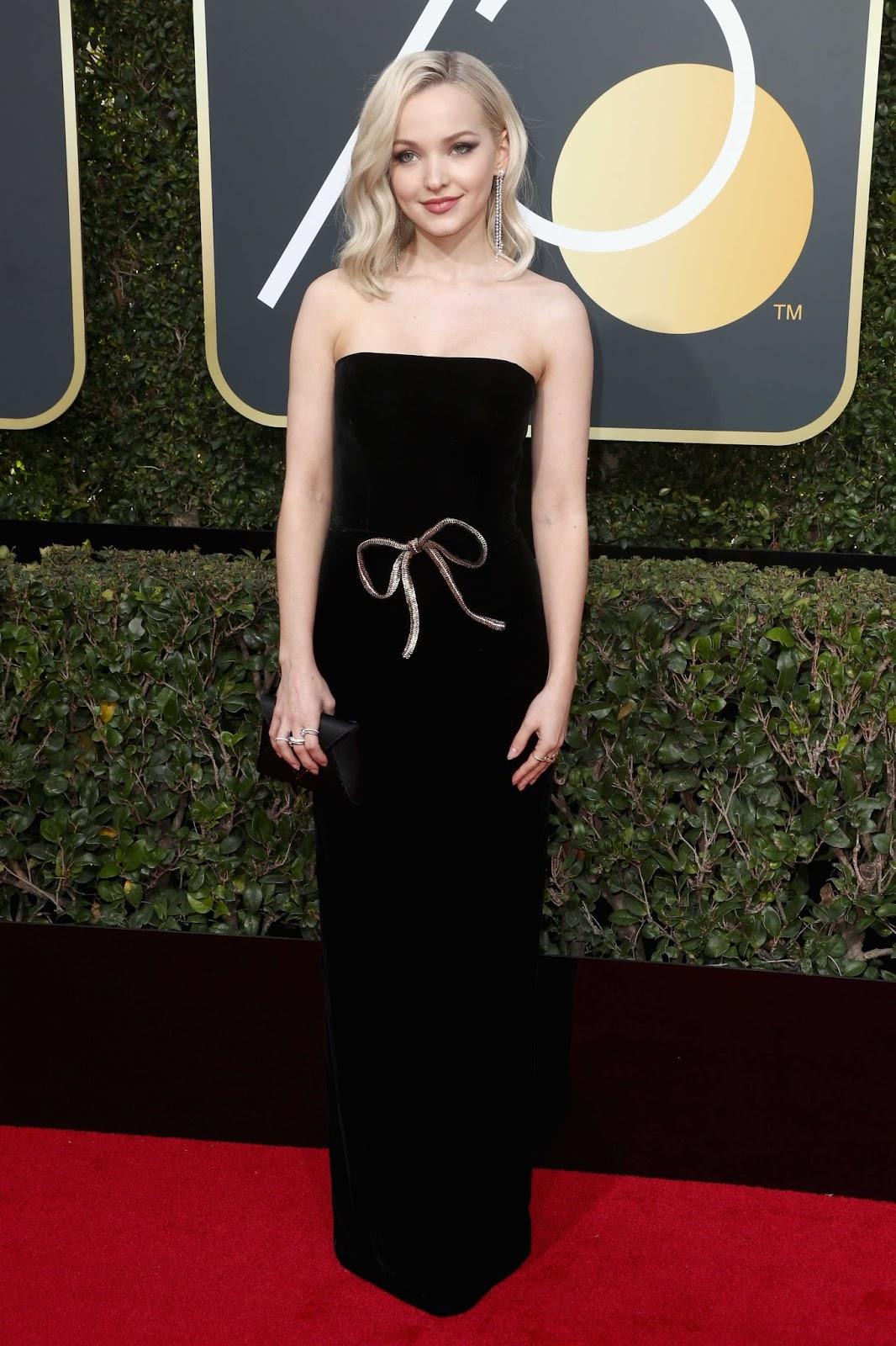 Dove Cameron Posing at 75th Annual Golden Globe Awards