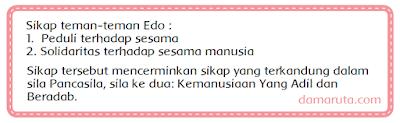 Mereka akhirnya bersepakat membuatkan wedang jahe untuk Edo. Di belakang rumah Edo banyak tanaman jahe. Edo sangat senang. Persahabatan mereka sangat indah. Mereka memiliki latar belakang yang berbeda. Namun, semangat tolong menolong di antara mereka sangat tinggi.    Bagaimana pendapatmu tentang sikap teman-teman Edo? Tulislah pendapat mu pada kolom di bawah ini!