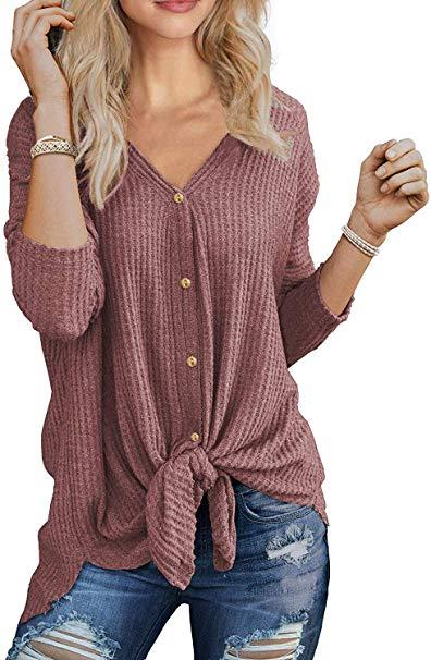 40% off Womens thermal tops waffle knit shirts