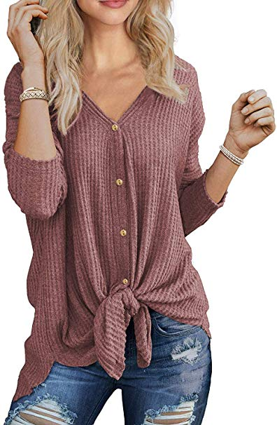 40% off Womens thermal tops waffle knit shirts