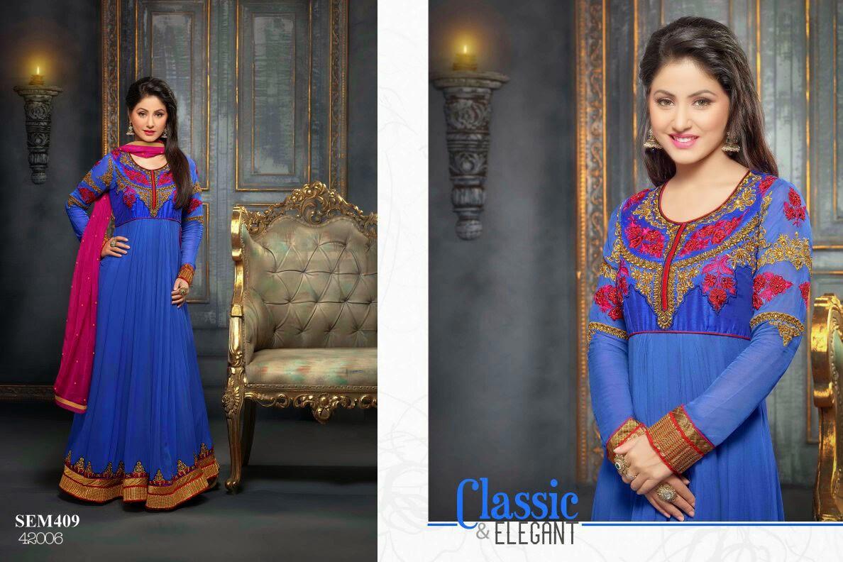 Hina Khan Embroidery Floor Length Anarkali Suit