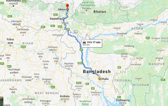 Sikkim and Dhaka – Darjeeling direct routes not possible