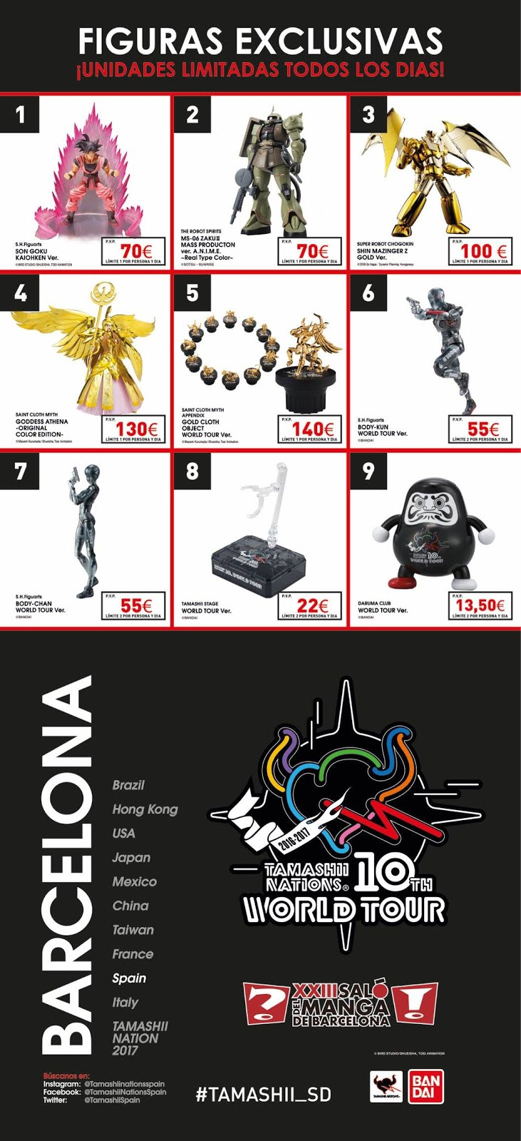 Precios finales de las figuras exclusivas del Tamashii World Tour 2017 Barcelona - Tamashii Nations