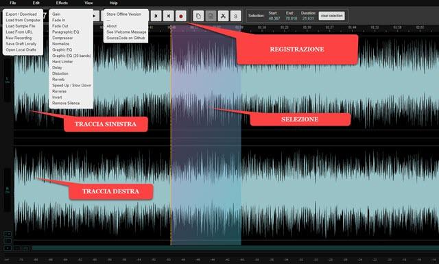 interfaccia di audiomass editor audio