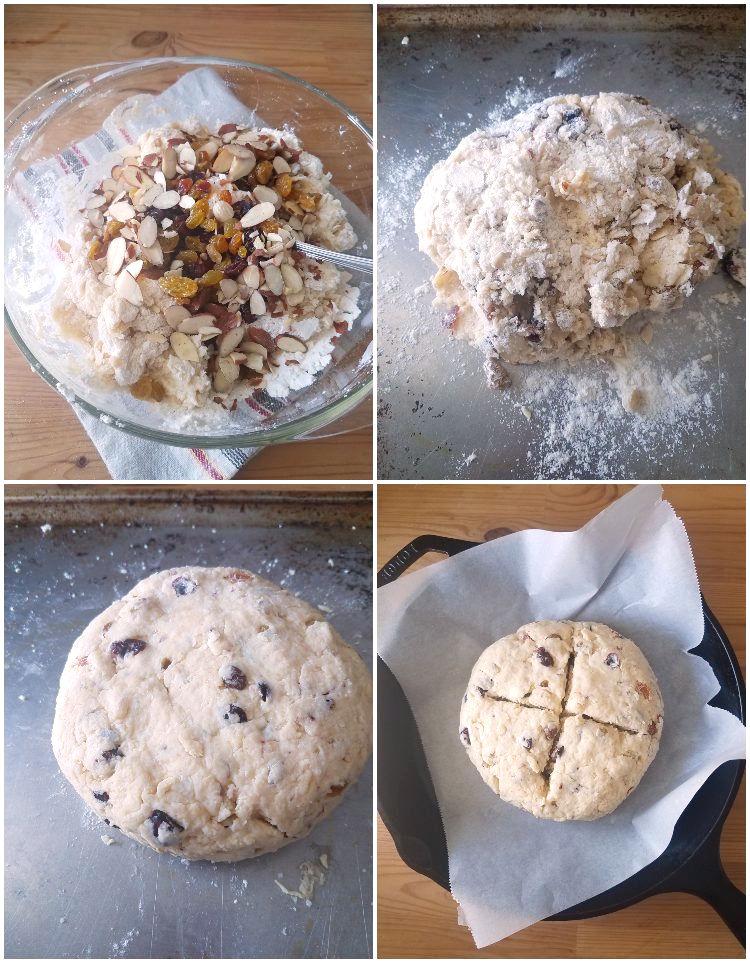 Haciendo el pan de soda, dando forma a la masa