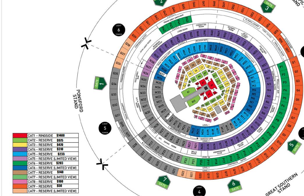 Mcg Seat Map Mcg seating map 2019   Seat Inspiration