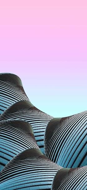 خلفية تلال المباني الزجاجية الزرقاء التجريدية