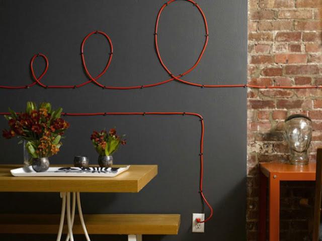 decoração com fios aparentes