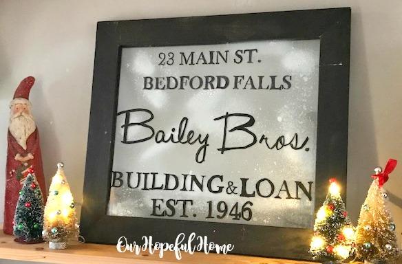 Bedford Falls Building & Loan sign fake snow