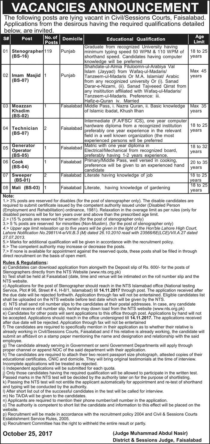 District & Session Judge Faisalabad Jobs 2017
