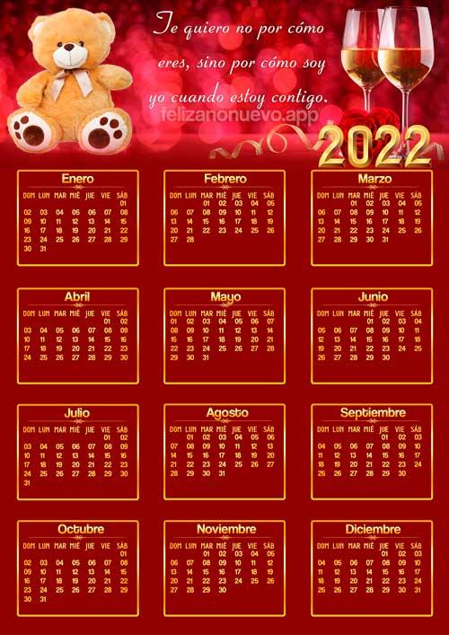 imágenes calendarios de amor 2022 con fondo rojo