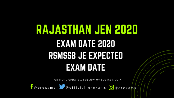 Rajasthan JEN Exam Date 2020 - RSMSSB JE Expected Exam Date - ErExams - Engineering Exams Guidance RSS Feed  IMAGES, GIF, ANIMATED GIF, WALLPAPER, STICKER FOR WHATSAPP & FACEBOOK