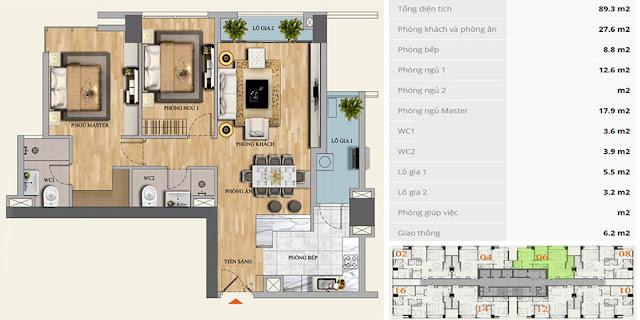 Thiết kế căn hộ C-06 chung cư Mon Central