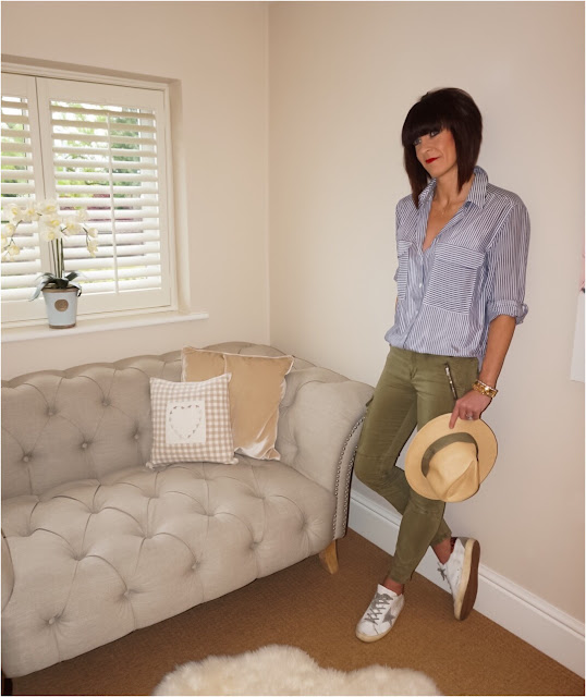 My Midlife Fashion, Oversized Zara stripe shirt, khaki skinny fit combat trousers, straw panama hat, j crew bracelets, monica vinader alphabet pendant, golden goose trainers