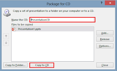 Package for CD dialogue box