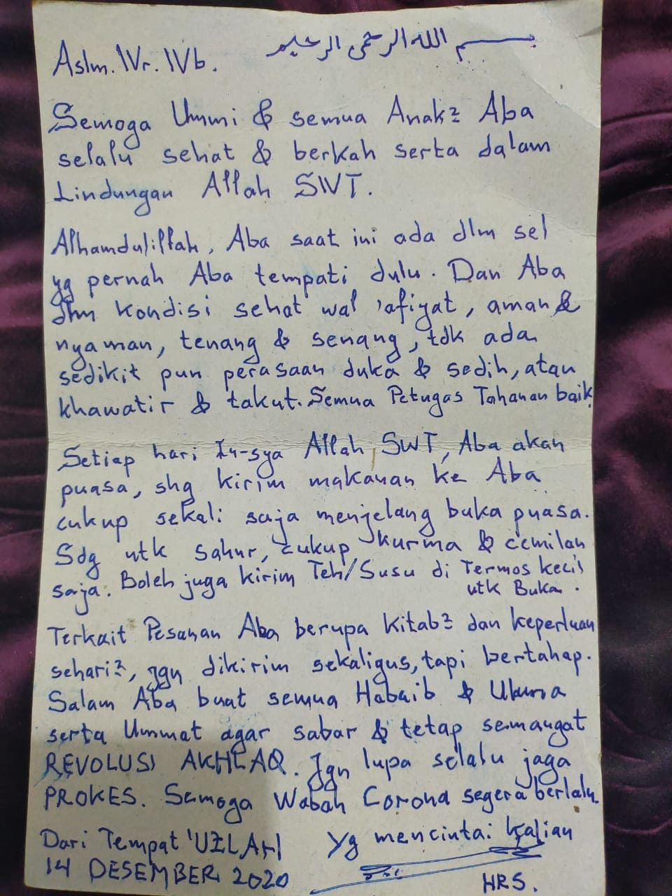 Mengharukan, Ini Isi Surat Habib Rizieq Buat Keluarga