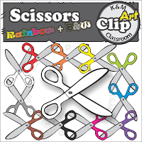 Scissors Clip Art in Rainbow Colors