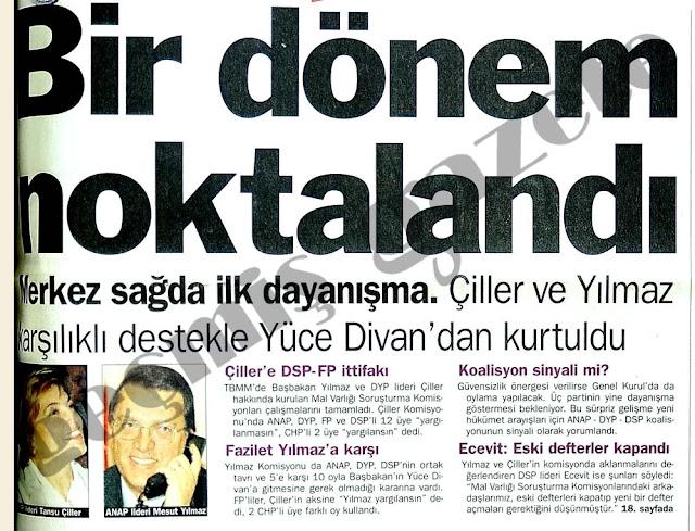 Türkbank araştırma komisyonu - Yüce Divan - Mesut Yılmaz - Güneş Taner - sadecegercek.net - Sadece Gerçek