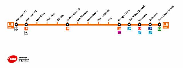 Metrô para o Aeroporto de Barcelona - mapa