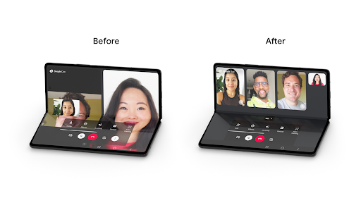 Google Duo's optimized experience for foldable devices