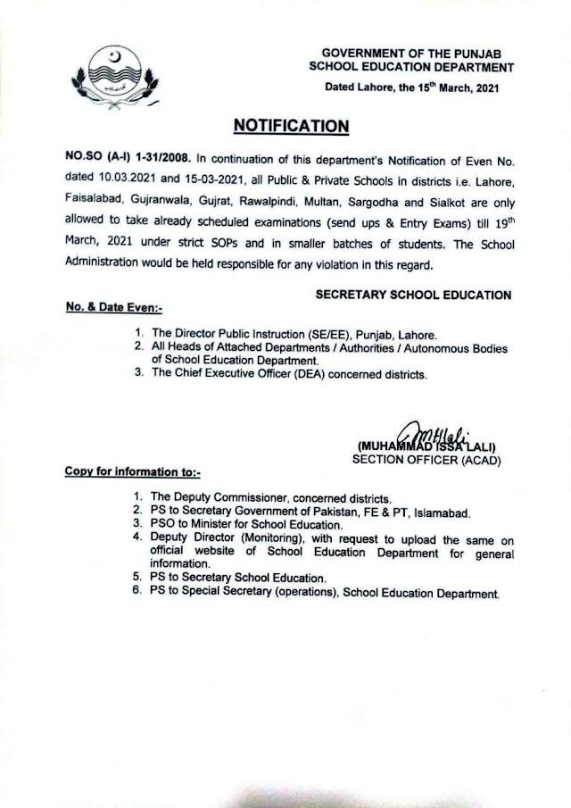 NOTIFICATION REGARDING PERMISSION TO TAKE ALREADY SCHEDULED EXAMINATIONS TILL 19.03.2021
