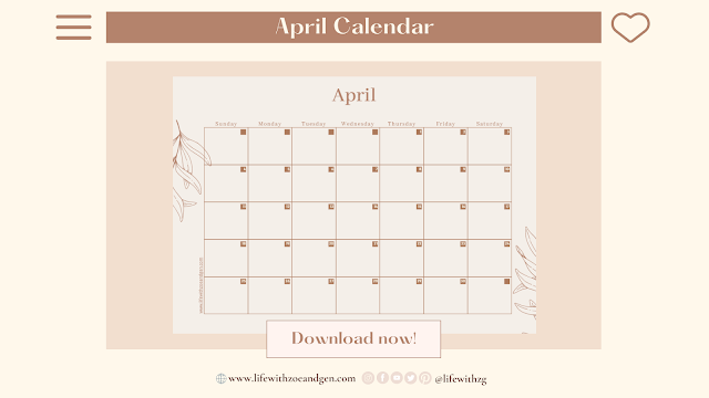 Free Minimalist April 2021 Calendar Printable or for digital journaling by Life with ZG. l Gen Roraldo