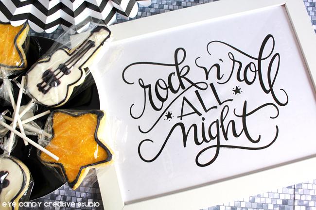 guitar cookies, hand lettered art print, rocker print, star cookies