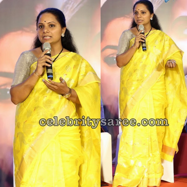 Kavitha Bright Yellow Tissue Saree
