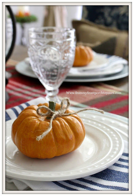 French Farmhouse Style Fall Dining Room-Table Setting with Pumpkins-From My Front Porch To Yours