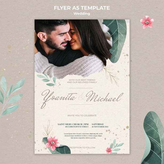 Wedding Flat Lay With Envelope Card PSD Mock-up