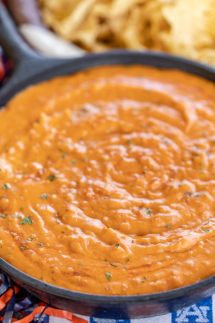 skillet of warm bean dip