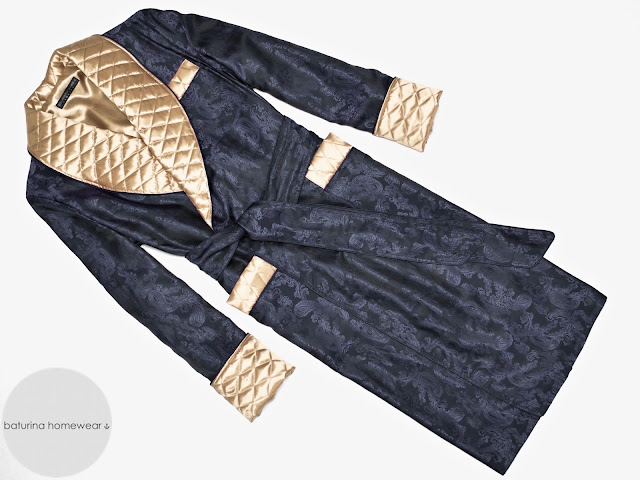 mens dark navy blue paisley silk victorian english gentleman dressing gown quilted smoking jacket lined