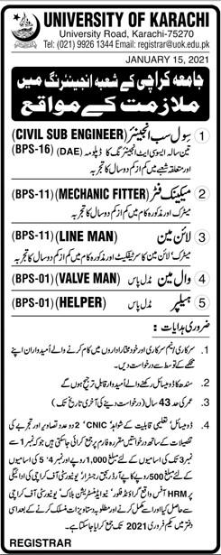 University of Karachi Jobs 2021 - UOK Jobs 2021 - Karachi University Email - registrar@uok.edu.pk