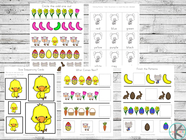 easter activities for kids like which one is different, Easter colors, Easter size sorting and more