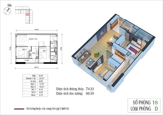Thiết kế căn hộ số 18 tòa CT2 Eco green city