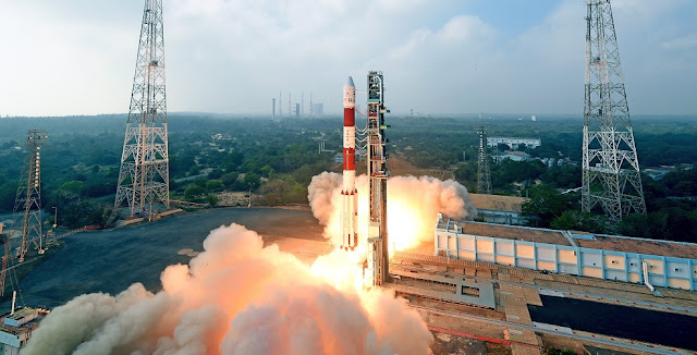 Liftoff of PSLV-C40. Credit: ISRO