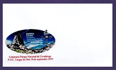 Sobre para el sello del Centenario del Parque Nacional de la Montaña de Covadonga
