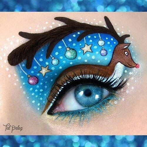 02-Rudolph-the-red-nosed-reindeer-Tal-Peleg-Eye-Make-Up-Art-Drawings-www-designstack-co