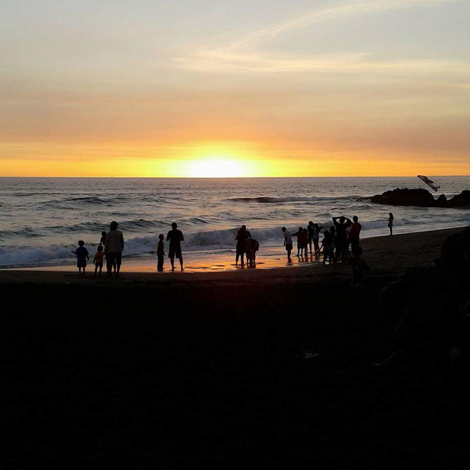 Sunset like a diamond in Bali beach