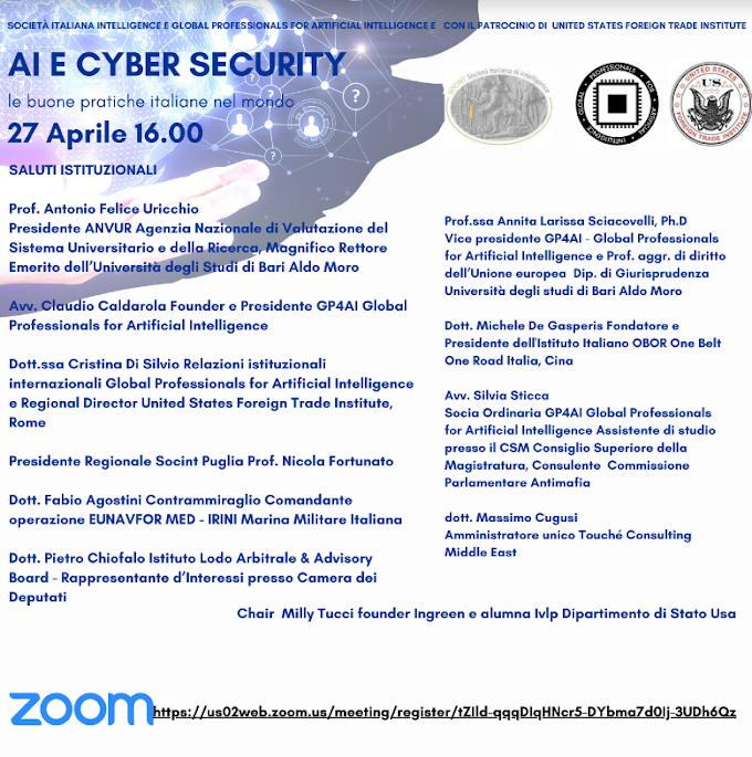 Webinar, intelligenza artificiale e cyber security: le buone pratiche italiane nel mondo