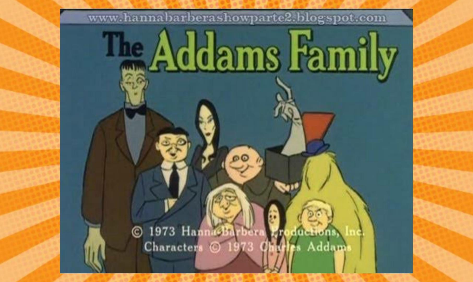 A imagem tem um fundo alaranjado, e ao centro uma fotografia em desenho animado de toda a família Addams