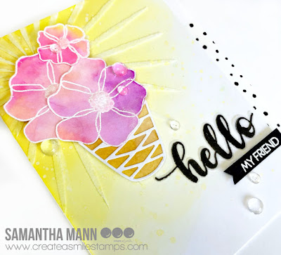 A Summery Hello Card by Samantha Mann for Create a Smile Stamps, watercolor, Distress Oxide Inks, embossing paste #createasmilestamps #watercolor #summer #handmadecard #cards #flowers