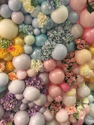 Pastel Balloon & Flower Wall by Sue Bowler