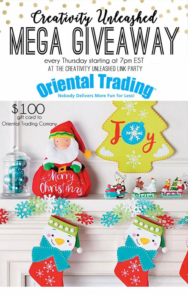 Oriental Trading Giveaway and Creativity Unleashed Link Party #199 at MyLove2Create